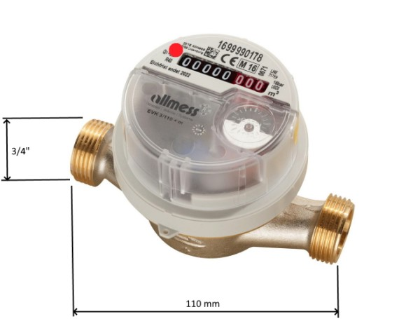 Allmess Warmwasser Zähler EVW 3/110